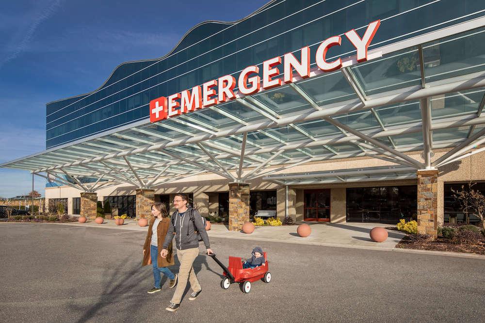 Family leaving emergency department